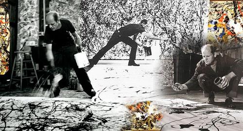 Création d'une fresque à la Pollock