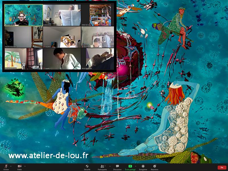 activité dessin peinture en visioconférence avec zoom